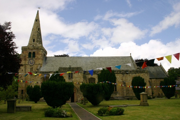 Outside St Lawrences Church in Warkworth